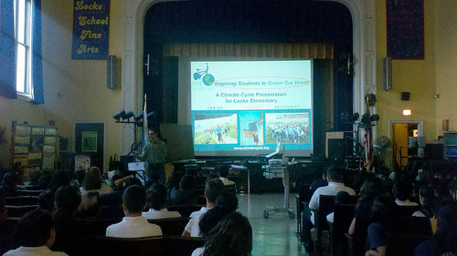 Joey Feinstein delivers part 1 of the Sustainability Assembly Series. © Erin Potter